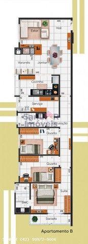 Apartamento para Venda em Ponta Grossa, Jardim Carvalho, 3 dormitórios, 2 suítes, 2 banhei - Foto 3