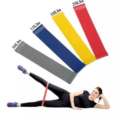 Kit 5 faixas elásticas mini Band exercício funcional yoga Pilates treino fitness - Foto 2