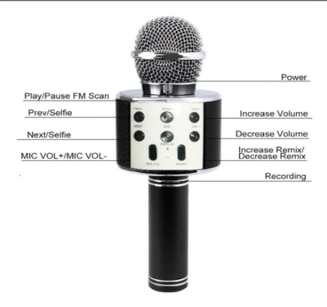 Microfone Karaokê C/ Caixa De Som Bluetooth Acoplada Gravar - Foto 5