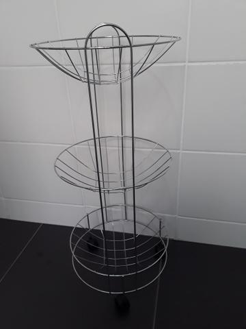 Fruteira ou cesta redonda de inox rodas