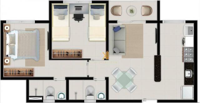 Apartamento com 2 dormitórios sendo 1 suíte à venda, 49 m² por R$ 152.500 - Centro - Euséb - Foto 8