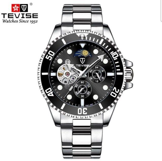 Relógio Tevise Automático Mecânico Inox 801 Original Preto