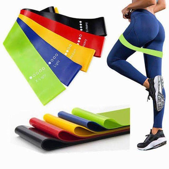 Kit 5 faixas elásticas mini Band exercício funcional yoga Pilates treino fitness - Foto 3