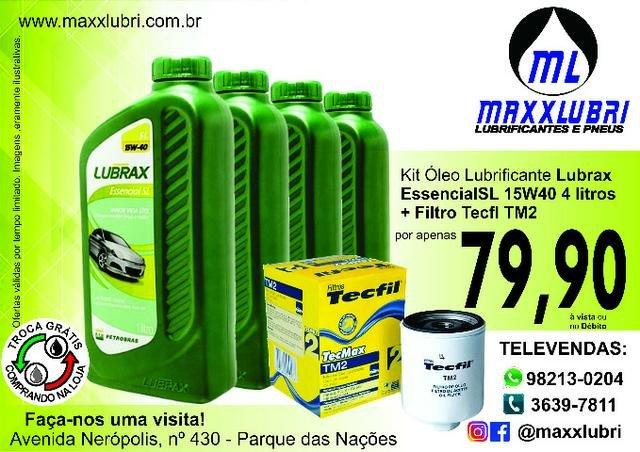 Lubrificante Lubrax 15W40 + Filtro de Óleo