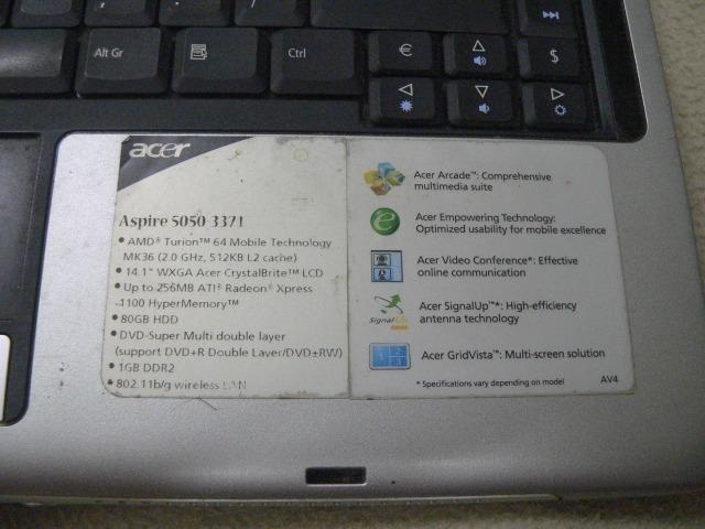 Notebook Aspire modelo 5050 - Para Retirada De Peças - Foto 3