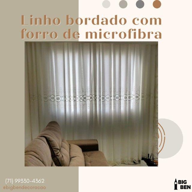 Linho bordado com forro de microfibra 03