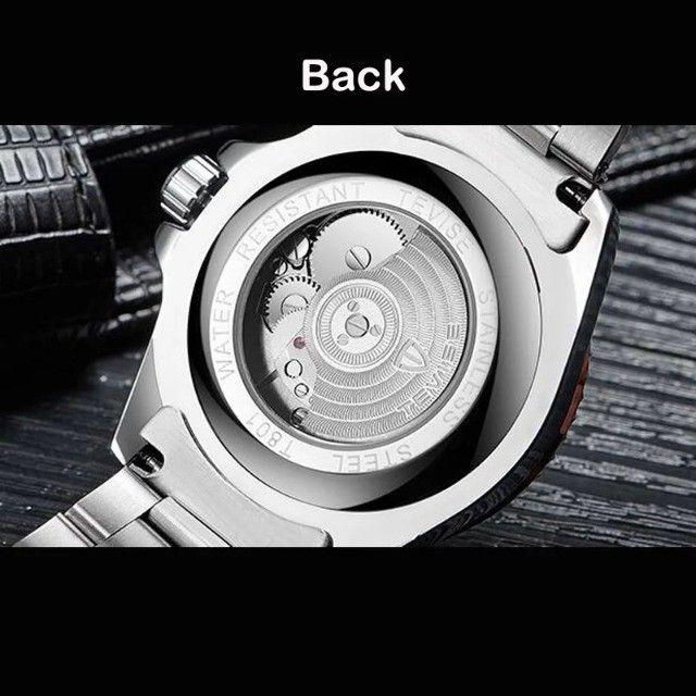 Relógio Tevise Automático Mecânico Inox 801 Original Preto - Foto 3