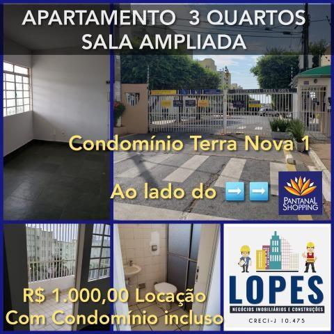 Apartamento 3 quartos grande sala ampliada ao lado do Pantanal shopping.