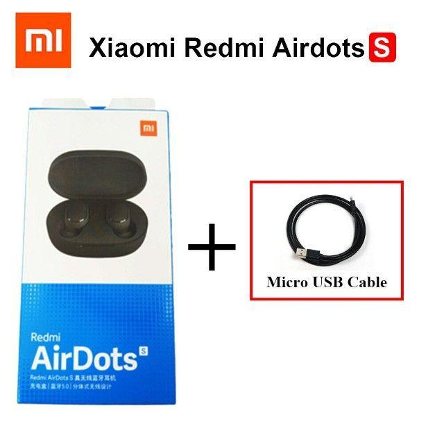 Fone Xiaomi Redmi AirDots S Tws Original Lançamento Gamer + Cabo micro USB