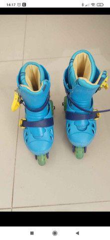 Kit patins infantil tri-line semi novo
