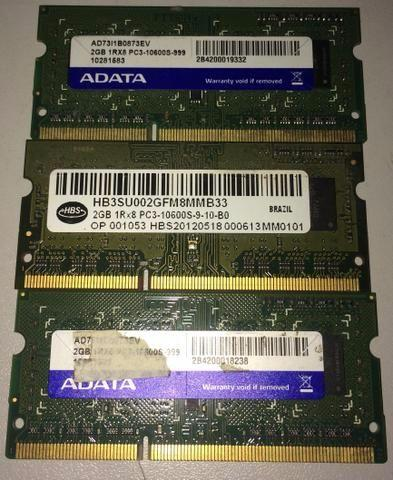 Memoria 2gb ddr3 notebook (3 unidades)
