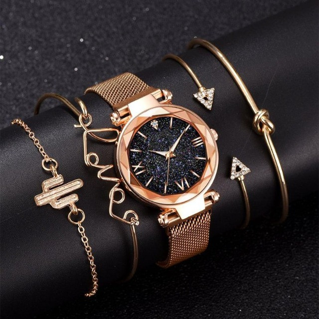 Conjunto de Relógio Feminino de luxo com 4 Pulseiras Folheadas a ouro