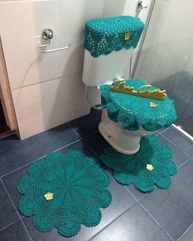Jogo de banheiro em crochê simples