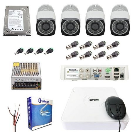 Kit 4 Câmeras Segurança DVR Hd 720p Citrox Infra 20m Externa - Foto 3