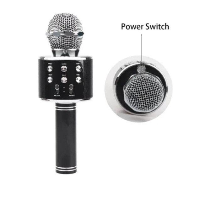 Microfone Karaokê C/ Caixa De Som Bluetooth Acoplada Gravar - Foto 2