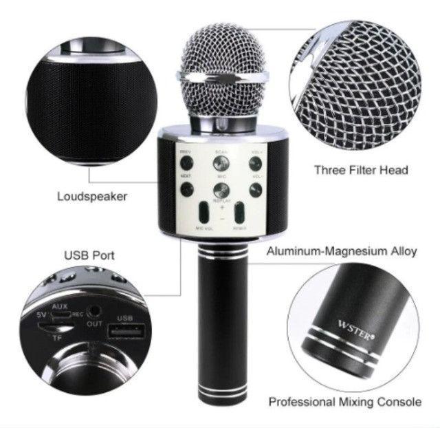 Microfone Karaokê C/ Caixa De Som Bluetooth Acoplada Gravar - Foto 3