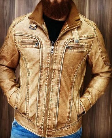 Jaquetas couro masculino p m g gg