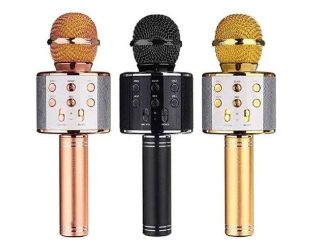 Microfone Karaokê C/ Caixa De Som Bluetooth Acoplada Gravar - Foto 4