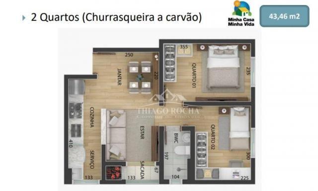 Apartamento garden com 15,45 m² para o seu pet, 2 quartos, churrasqueira e garagem coberta - Foto 14