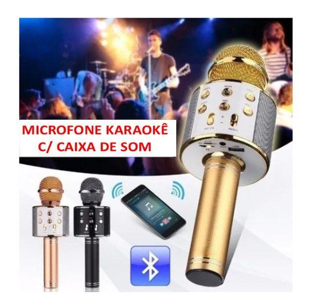 Microfone Karaokê C/ Caixa De Som Bluetooth Acoplada Gravar