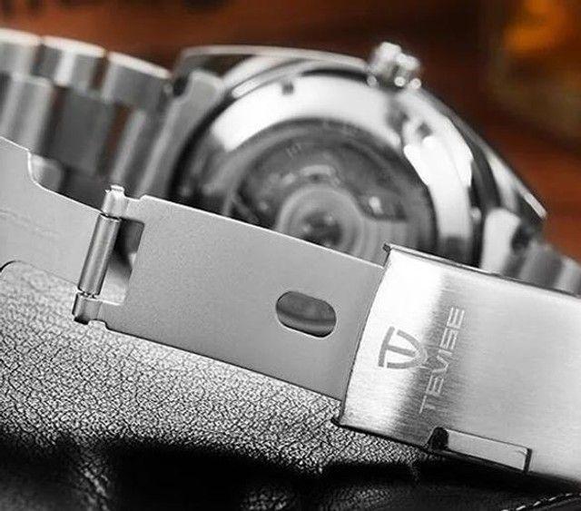 Relógio Tevise Automático Mecânico Inox 801 Original Preto - Foto 4