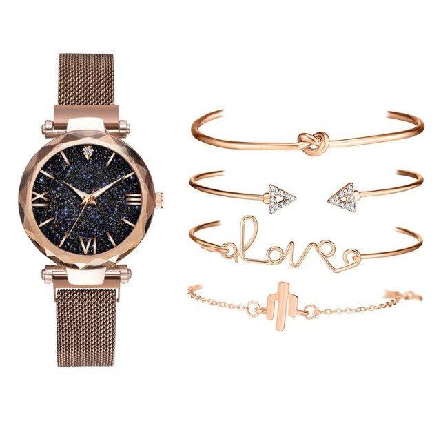 Conjunto de Relógio Feminino de luxo com 4 Pulseiras Folheadas a ouro - Foto 5