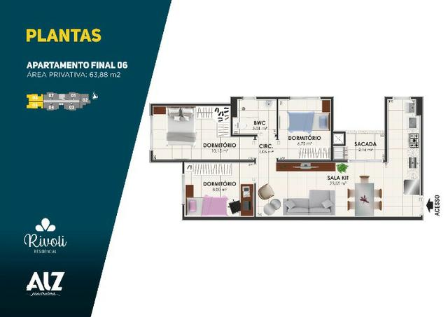 Apartamento 3 dormitórios, Minha Casa, Minha Vida, Pagani - Palhoça - Foto 13
