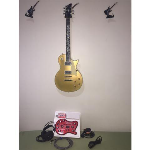 Guitarra Les Paul Gold + Pedaleira e acessórios