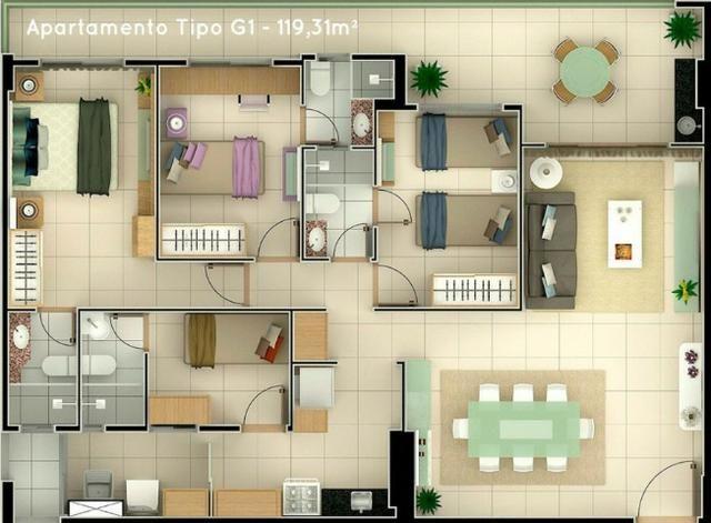 (ELI) Promoção no Papicu - Apartamento de 119,31m²- 3 Suites - 2 Vagas - Lazer Completo