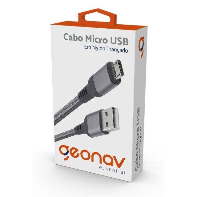 Cabo Micro USB, Geonav Original, Nylon Trançado, 1M
