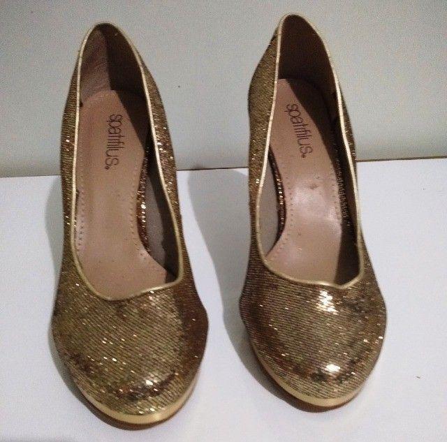 Sapato de Festa Dourado (Brilhante) Spatifilus Tamanho 37 - Foto 4