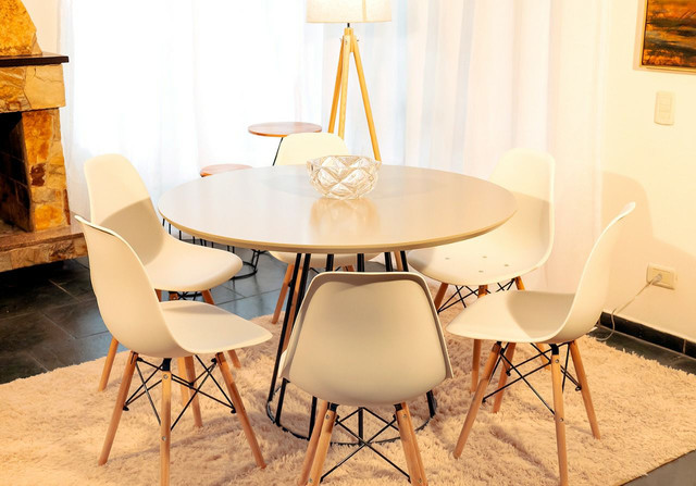Lançamento!!! Conjunto de mesa redondo 1,10 de diâmetro estilo industrial + 6 cadeiras - Foto 3