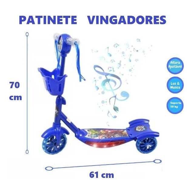 Patinet Infantil 3rodas sonic , herois marvel Scooters Luz/sons triciculo novo 0km - Foto 3