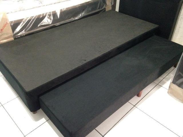 Base box solteiro com cama auxiliar em suede - Foto 2