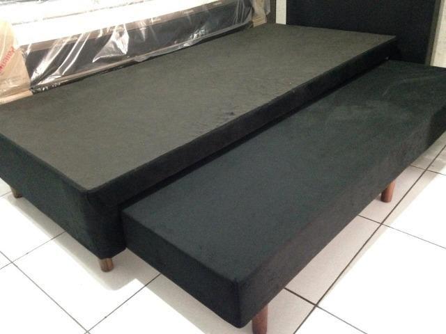 Base box solteiro com cama auxiliar em suede