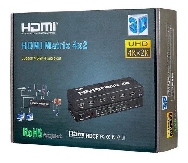 Chaveador splitter matrix 4x2 hdmi com 4 entradas e 2 saidas