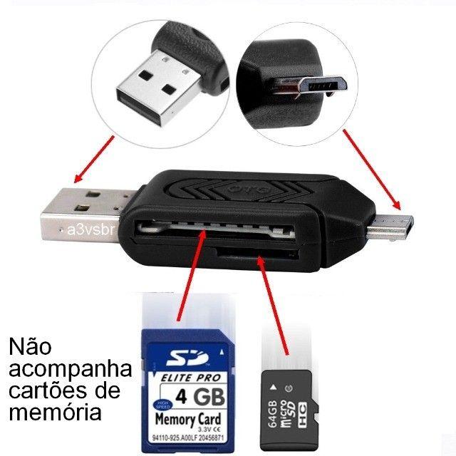 Leitor adaptador gravador de cartão de memória otg Micro SD / SD Card usb micro-b v8 2.0 - Foto 2