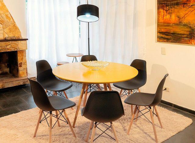 Lançamento!!! Conjunto de mesa redondo 1,10 de diâmetro estilo industrial + 6 cadeiras - Foto 2