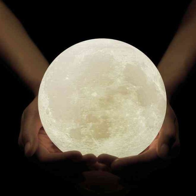 Luminária Lua Cheia 3D Troca de Co - Foto 2