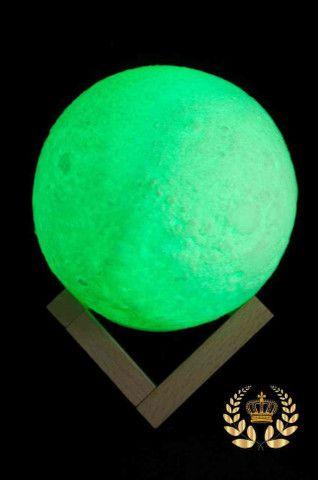 Luminária Lua Cheia 3D Troca de Co