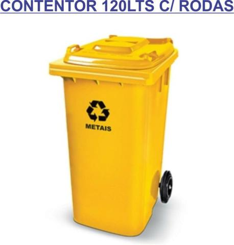 Lixeira contentor de lixo 120lts com rodas 20cm - Foto 4