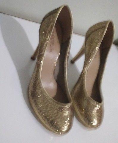 Sapato de Festa Dourado (Brilhante) Spatifilus Tamanho 37 - Foto 3