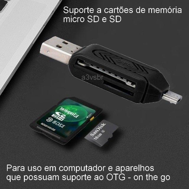 Leitor adaptador gravador de cartão de memória otg Micro SD / SD Card usb micro-b v8 2.0 - Foto 3