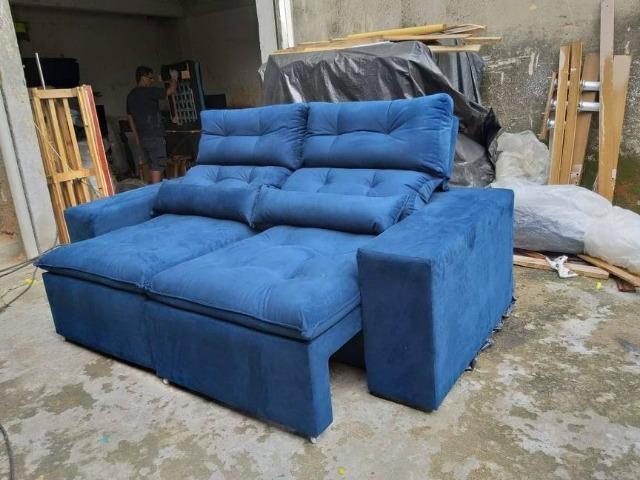 edc6ee92a Sofa retratil e reclinavel 2.00 3 lugares pronta entrega com assento de  mola - 987923089