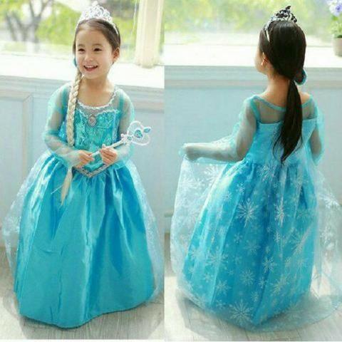 Fantasia Vestido Elsa Frozen Com Varinha Cedro E Trança