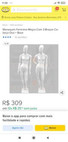 Manequin feminina magra com 3 braços cabeça oval  - Foto 2