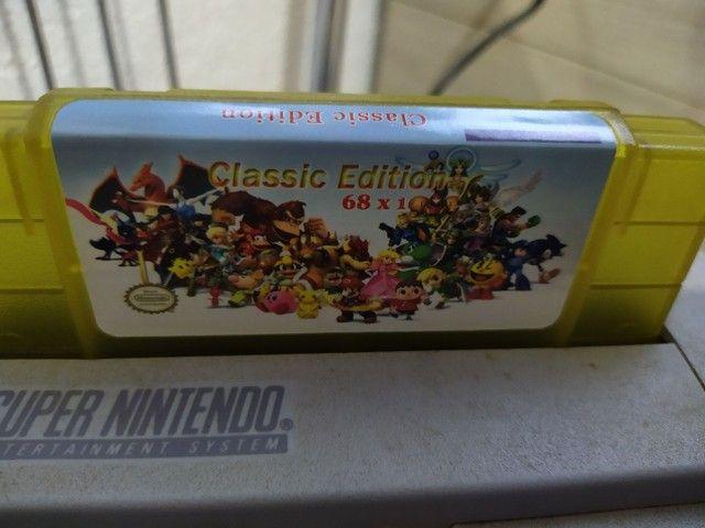 Fita cartucho nova pra console vídeo game super Nintendo 68 jogos  - Foto 2