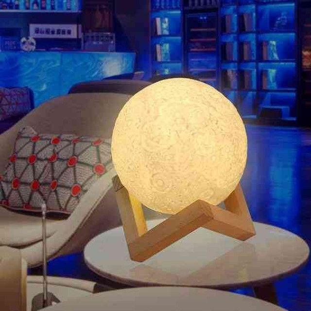 Luminária Lua Cheia 3D Troca de Co - Foto 5