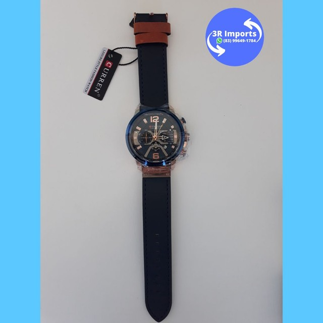 Relógio masculino esportivo de couro - Curren  - Foto 4