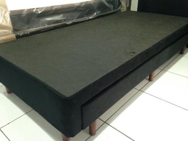Base box solteiro com cama auxiliar em suede - Foto 3